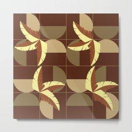 Mid-Century Earthy Palm Leaves Metal Print