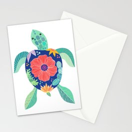 Sea turtle with large poppy flower on the shell Stationery Cards