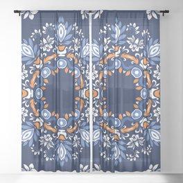 Windsor Shabby Blue  Sheer Curtain