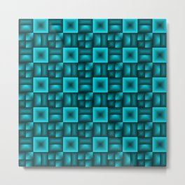 Convex rhombuses of light blue squares with dark rectangles. Metal Print
