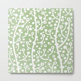 Mid Century Modern Spring Blossoms Sage Green Metal Print