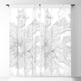 Mount Rainier, WA Contour Map In White Blackout Curtain