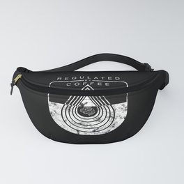 Caffeine on the Brain // B&W Regulated by Coffee Espresso Drip Distressed Living Graphic Design Fanny Pack