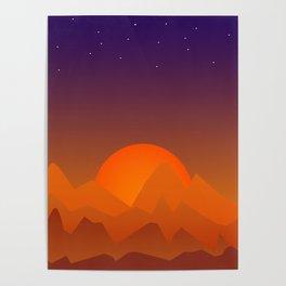 Slumbering Hills, Southwestern Landscape Art Poster