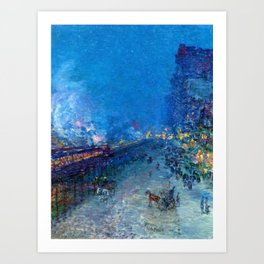 Classical Masterpiece 'Night Train' by Frederick Childe Hassam Art Print
