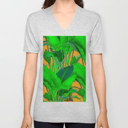 BRIGHT GREEN & GOLD TROPICAL FOLIAGE ART Unisex V-Neck