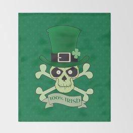 100% Irish.Green lucky irish skull Throw Blanket