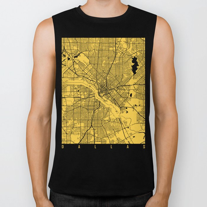Dallas map yellow Biker Tank