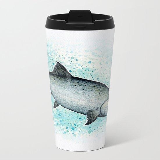 """Salmon Splash"" by Amber Marine ~ Watercolor Painting (c) 2016 Metal Travel Mug"