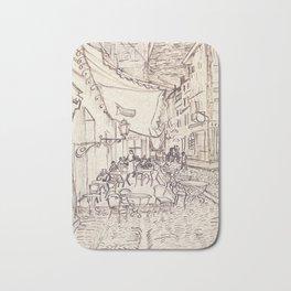 Cafe Terrace at Night (sketch) Bath Mat