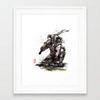 skyrim Framed Art Prints featuring Dragonborn of Skyrim Japanese sumie style by mycks