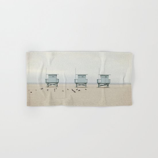Lifeguard Towers with Birds Hand & Bath Towel
