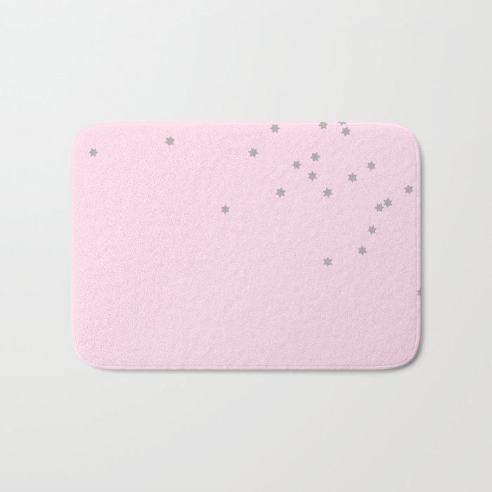 Little grey stars on pink background Bath Mat