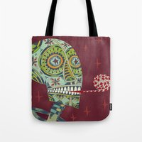 happy birthday Tote Bags featuring Happy Birthday by Santiago Uceda