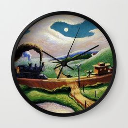 American West Classical Masterpiece 'Trains Colliding' by Thomas Hart Benton Wall Clock
