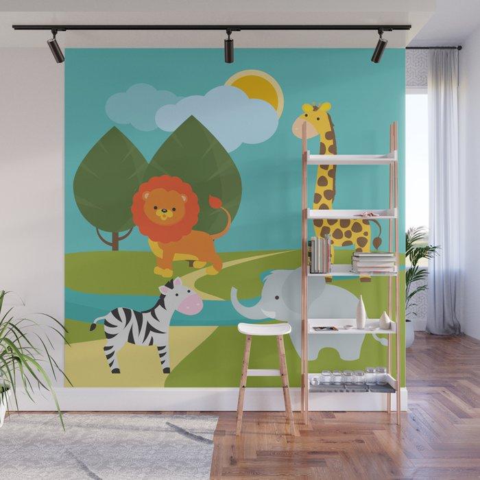 Animals Nursery Decor Children Gift Birthday Wall Mural By Baronykarony