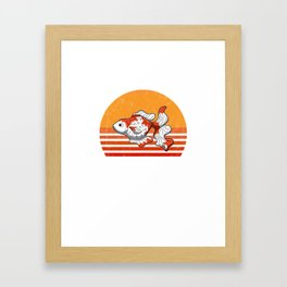 Vintage Goldfish Sunset Retro Gift Framed Art Print