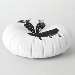 Cactus linocut houseplant planter hipster black and white office dorm college art print Floor Pillow