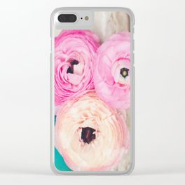 Pink Ranunculus Bouquet mint green Clear iPhone Case