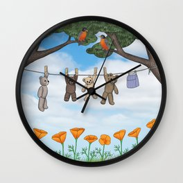 robins, poppies, & teddy bears on the line Wall Clock