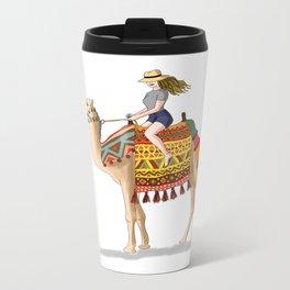 Woman on a Camel Metal Travel Mug