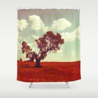 ashton irwin Shower Curtains featuring Waiting #2 by Schwebewesen • Romina Lutz