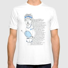 Tennis MEDIUM White Mens Fitted Tee