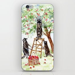 Cute Raccoons in the Orchard iPhone Skin