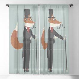 Gentleman Fox Takes a Stroll Sheer Curtain