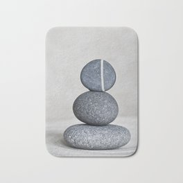 Zen cairn pebble stone balance grey Bath Mat