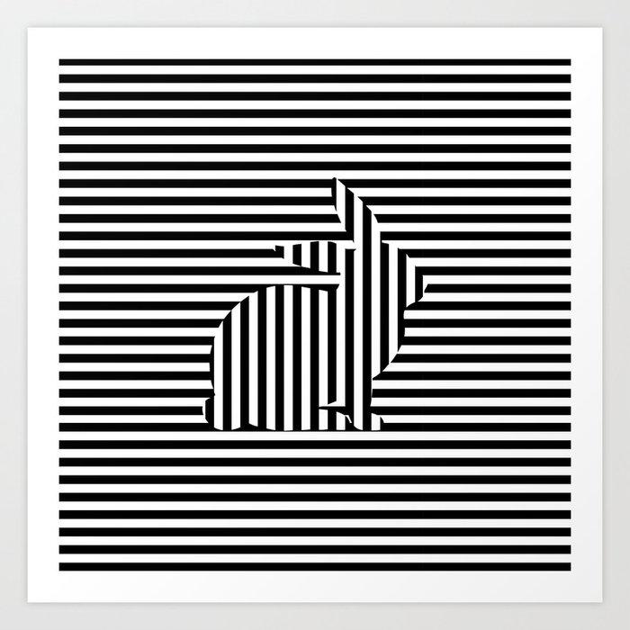 Rabbit on Stripes Art Print