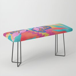 Bold Flower Pattern Yellow Background Bench