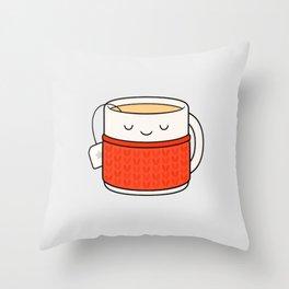 Keep warm, drink tea! Throw Pillow