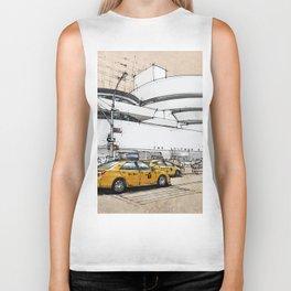 Guggenheim New York, umbrellas and yellow cabs. Sketch Biker Tank