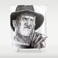 freddy krueger Shower Curtains featuring Freddy krueger nightmare on elm street by calibos