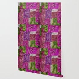 Boho Patchwork Floral Wallpaper