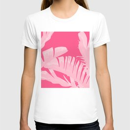 Chill Pink Tropical Banana Leaves Design T-shirt