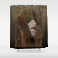majoras mask Shower Curtains featuring Mask by Judith Lee Folde Photography & Art