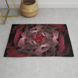 Abloom in Lusciously Crimson-Red Petals of a Rose Rug