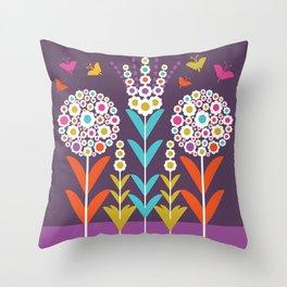Pom Pom Flowers Throw Pillow