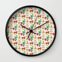 mexico Wall Clocks featuring Mexico by Ana Types Type