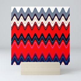 red blue pink white wavy striped geometric pattern Mini Art Print
