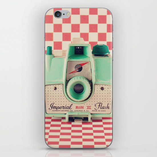 Mint Retro Camera on Red Chequered Background  iPhone Skin