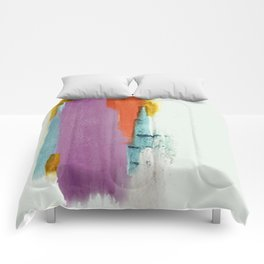 Aly: a colorful, minimal, abstract piece in bold purple, blue, orange, and yellow Comforters