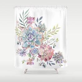 succulent watercolor 6 Shower Curtain