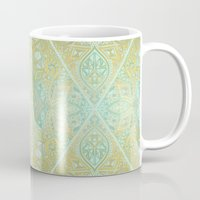 bedding Mugs featuring Mint & Gold Effect Diamond Doodle Pattern by micklyn
