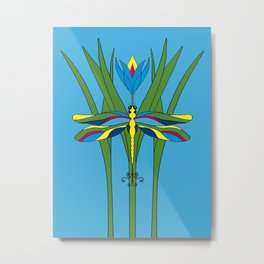 Turquoise Dragonfly Tulip Metal Print