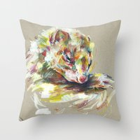 ferret Throw Pillows featuring Ferret IV by Nuance