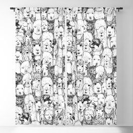 just alpacas black white Blackout Curtain