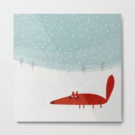 the fox in the snow Metal Print